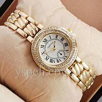 Женские Часы Cartier crystal Gold/White