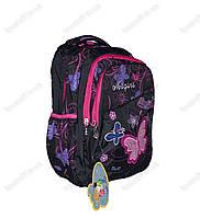 Рюкзак школьный/городской для девочки из плащевки - Бабочка - Черный - 1032