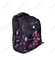 Рюкзак школьный/городской для девочки из плащевки - Цветочки - Черный - 1822