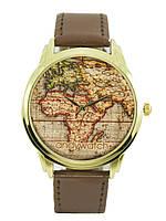 Женские оригинальные наручные часы. Карта мира.