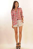 Классическая розовая женская рубашка в клетку(р.42-52)