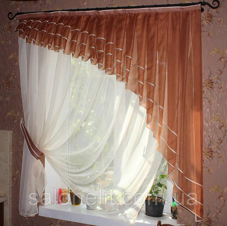 Дизайн штор для кухни из вуали