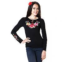 Вышитая женская футболка с длинным рукавом. Калинове диво