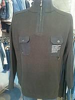 Свитер мужской 2 кармана хлопок 100% батал (черный и беж)