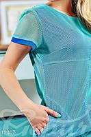 Летнее женское оригинальное платье короткое приталенное рукав короткий стрейч-сетка микро дайвинг