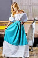 Летнее пышное женское платье в пол рукав фонарик приталенное коттон