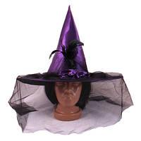 Шляпа Ведьмы с вуалью, фиолетовая