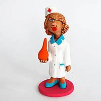 Глиняная статуэтка. Медсестра с клизмой. Украинский сувенир