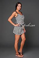 Платье в морском стиле бежевый/черный