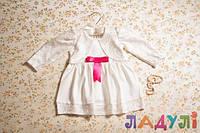 Нарядное белое платье для девочки с бантиком (1-2 года)