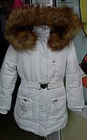 Куртка зимняя польская для девочек белого цвета с пояском