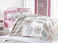 Постельное белье Nazenin Ranforce Vintage Sydnie розовое евро размера