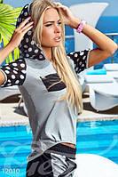 Женский легкий спортивный костюм с капюшоном кармашком на груди коттон