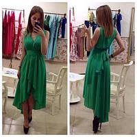 Асимметричное шифоновое платье с декольте