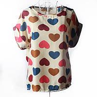 Блуза женская с короткими рукавами / Футболка шифоновая с сердечками бежевая