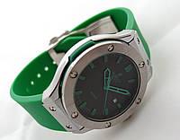 Женские часы HUBLOT - Big Bang зеленый ремешок, цвет серебро, японский кварцевый механизм