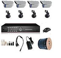 Комплект видеонаблюдения для частного дома на 4 камеры