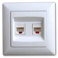 GUNSAN VISAGE белый Розетка компьютерная двойная (2 x cat6) (2811170)
