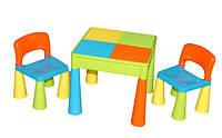 Детский стол, лего доска, два стула в комплекте Tega