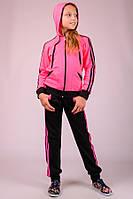 Детский трикотажный спортивный костюм Комби-лампас (розовый)