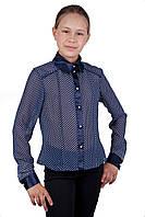 Школьная блузочка в горошек для девочки