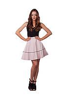 Женская короткая юбка клеш с высокой талией Розово-бежевая
