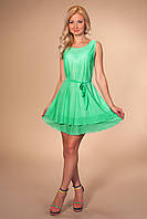 Платье 868 мятное трикотажное короткое свободного покроя с расклешенной юбкой и поясом