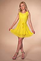 Платье колокольчик 868 желтое короткое расклешенное с завязкой на талии из тонкого трикотажа