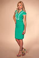 Платье 867 бирюзовое офисное приталенного покроя по фигуре из бенгалина