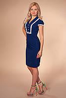Платье 867 темно синее приталенное по фигуре из бенгалина