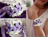 """""""Фиолетовые анютки"""" браслет на руку с цветами"""