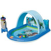 Надувной игровой центр-бассейн INTEX 57127 ,,Toy Story,, с фонтаном с мячиками с надувной ракетой-кольцебросом