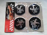 Наклейки на заглушки литых дисков (колпачки) с логотипом peugeot (пежо)