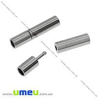Замок для вклеивания шнура, Темное серебро, 14х3 мм, 1 шт (ZAM-012750)