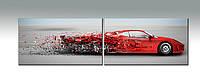 """Панорамное панно """"Red car"""". Фотопечать. Печать на холсте."""