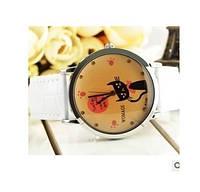 Наручные часы  белый,коричневый ремешок