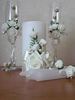 """Свадебные бокалы и свечи """"роза"""" ручной работы"""