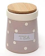 """Банка керамическая 900 мл. для чая с бамбуковой крышкой, 11x11x13.3 см., """"TEA"""""""