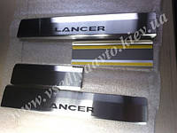 Защита порогов - накладки на пороги Mitsubishi LANCER X с 2007 г. (Standart)