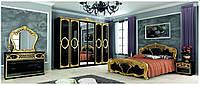 Спальня Реджина Black - Gold глянець чорний золото МіроМарк / Спальный гарнитур Реджина MiroMark