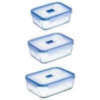 Набор контейнеров Luminarc PURE BOX ACTIVE с крышками, прямоугольные, 820 мл, 1220 мл, 1970 мл