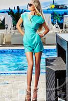 Молодежный женский яркий комбинезон с карманами низ шортики рукав короткий бенгалин