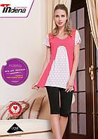 Женская домашняя одежда комбинированный Розово-белый верх, темные бриджы арт.34007