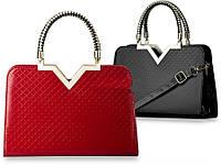 жіноча лакова сумка червоного та чорного кольору