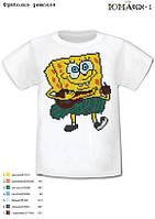 """Детская футболка с рисунком для вышивки бисером """"Губка БОБ"""""""
