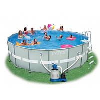 Бассейн каркасный INTEX 28334 (54958) Ultra Frame Pool + песочный фильтр-насос+тент+подстилка 549*132 см