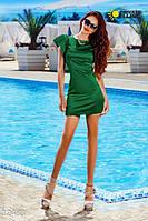 Элегантное женское летнее платье мини с коротким оригинальным рукавом облегающее полированный коттон