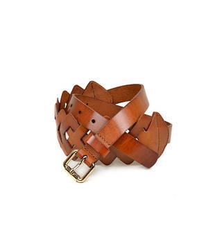 Плетеный женский кожаный ремень 2154 coffee светло- коричневый