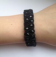 Вечерний браслет с черным агатом в два ряда