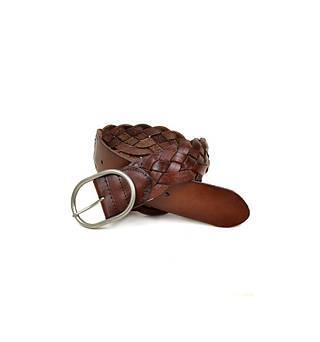 Плетеный женский кожаный ремень 6357 coffee коричневый